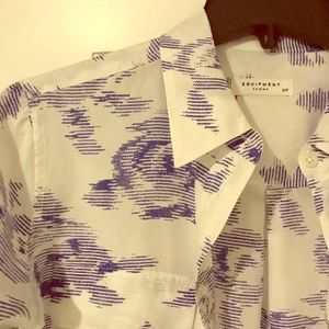 Equipment size small white and blue blouse